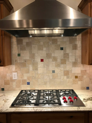 multicolored handmade tiles in a kitchen