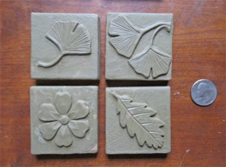 2 in by 2 inch handmade tile designs in Ginkgo 2