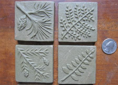 2 in by 2 inch handmade tile designs in Ginkgo 1