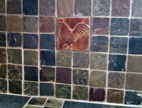 Handmade Bee Tile with Slate Installation 2