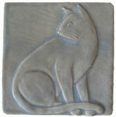 handmade tile four inch size cat design with cat sitting looking over its shoulder