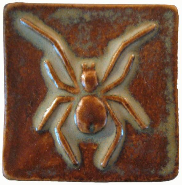 "spider handmade ceramic tile 2""x2"" autumn glaze"