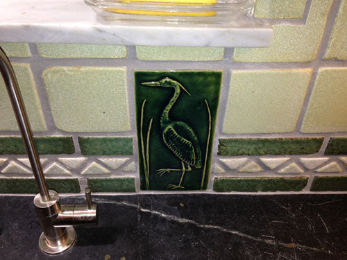 Heron Handmade Ceramic Tile Left