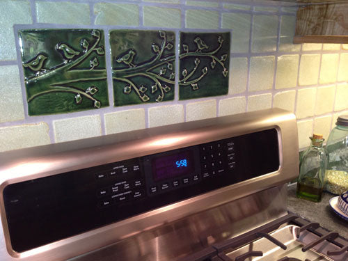 Kitchen Back-splash with Emu Handmade Tiles