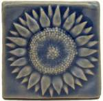 Sunflower 3x3 Handmade Ceramic Art Tile Watercolor Blue Glaze
