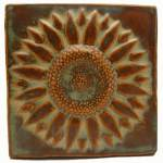 Sunflower 6x6 Handmade Ceramic Art Tile Autumn Glaze