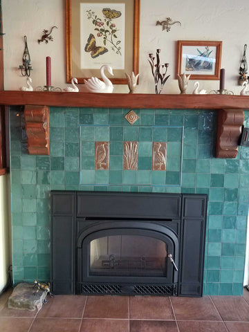 handmade tile fireplace surround