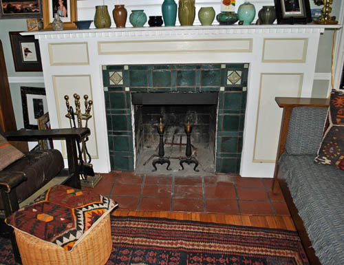 An Arts And Crafts Hearth Ceramic Handmade Tiles