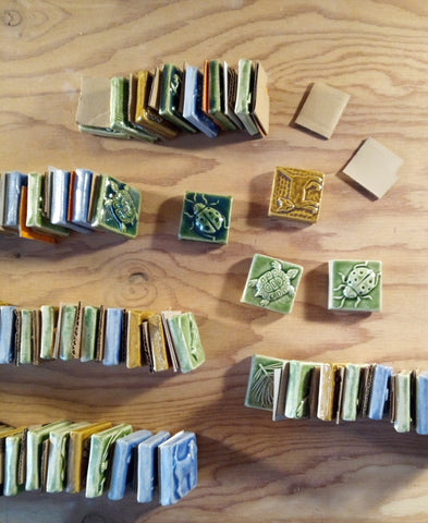 handmade tiles being packed for shipement