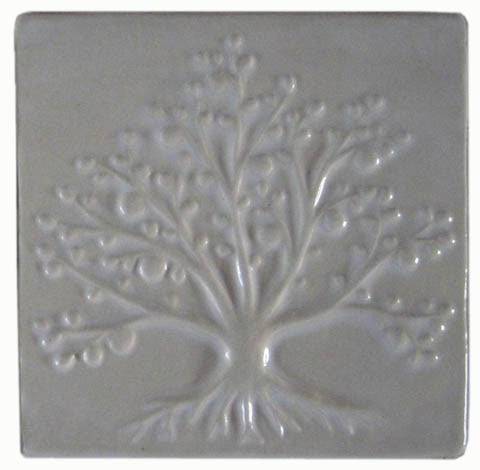 handmade tile with a tree design