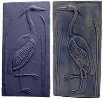Handmade Heron Tiles, Left and Right in Blue
