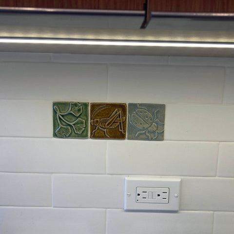handmade tiles installed with subway tiles
