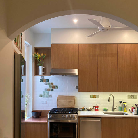 handmade tiles installed in a NYC kitchen