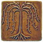 Willow Tree 4x4 Ceramic Handmade Tile Honey Glaze