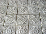 "Sunflower 4""x4"" Ceramic Handmade Tile - White Glaze Grouping"