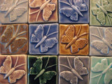 "Butterfly 2""x2"" Ceramic Handmade Tile - Multicolor Grouping"