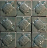"Turtle 2""x2"" Ceramic Handmade Tile- Pacific Blue Grouping"