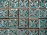"Starfish 2""x2"" Ceramic Handmade Tiles - Pacific Blue Glaze Grouping"