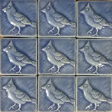 "Cardinal 3""x3"" Ceramic Handmade Tile - Watercolor Blue Glaze Grouping"