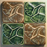 "Double Ginkgo Leaf 4""x4"" Ceramic Handmade Tile - leaf green and autumn Grouping"