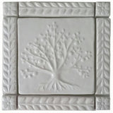 "Tree of Life Ceramic Handmade Tiles With 1"" Border -White Glaze"