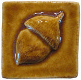 "Acorn 2""x2"" Ceramic Handmade Tile - Honey Glaze"