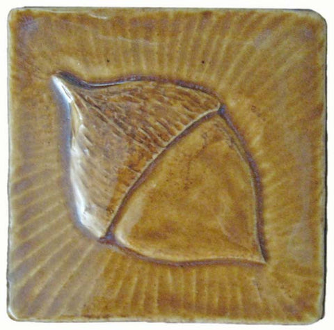 "Acorn 4""x4"" Ceramic Handmade Tile - Honey Glaze"
