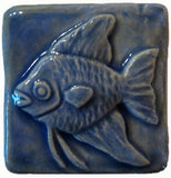 "Angelfish 2""x2"" Ceramic Handmade Tile - Watercolor Blue Glaze"