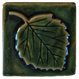 "Aspen Leaf 3""x3"" Ceramic Handmade Tile -Leaf Green Glaze"