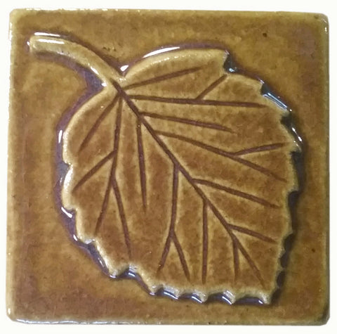 "Aspen Leaf 3""x3"" Ceramic Handmade Tile -Honey Glaze"
