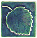"Aspen Leaf 4""x4"" Ceramic Handmade Tile - Leaf Green Glaze"