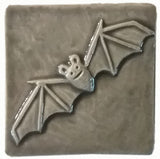 "Bat 3""x3"" Ceramic Handmade Tile - Gray Glaze"