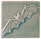 "Bat 3""x3"" Ceramic Handmade Tile - Pacific Blue Glaze"