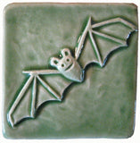 "Bat 3""x3"" Ceramic Handmade Tile - Spearmint Glaze"