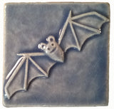 "Bat 3""x3"" Ceramic Handmade Tile - Watercolor Blue Glaze"