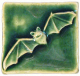 "Bat 2""x2"" Ceramic Handmade Tile - Leaf Green Glaze"
