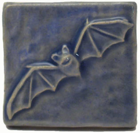 "Bat 2""x2"" Ceramic Handmade Tile - Watercolor Blue Glaze"