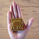 "Bear 2""x2"" Ceramic Handmade Tile -  Size Reference Honey Glaze"