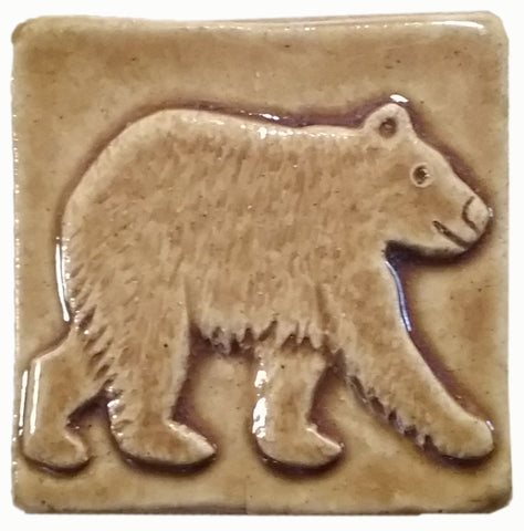 "Bear 2""x2"" Ceramic Handmade Tile - Honey Glaze"