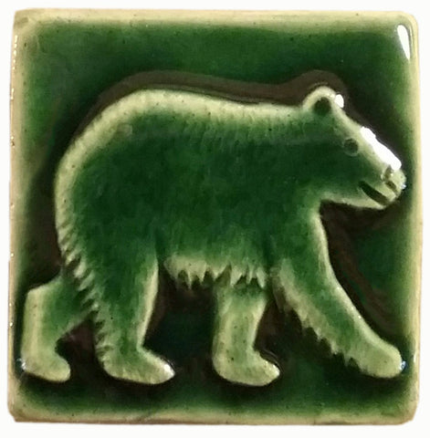 "Bear 2""x2"" Ceramic Handmade Tile - Leaf Green Glaze"