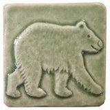 "Bear 2""x2"" Ceramic Handmade Tile - Spearmint Glaze"
