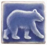 "Bear 2""x2"" Ceramic Handmade Tile - Watercolor Blue Glaze"