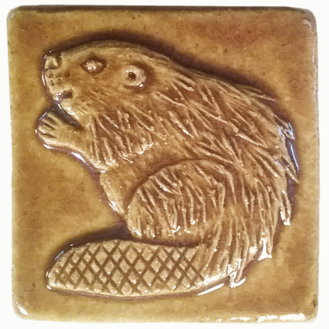 "Beaver 2""x2"" Ceramic Handmade Tile - Honey Glaze"