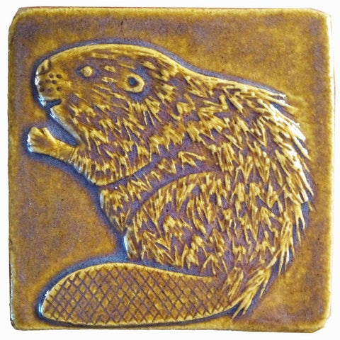 "Beaver 4""x4"" Ceramic Handmade Tile - Honey Glaze"
