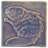 "Beaver 4""x4"" Ceramic Handmade Tile - Watercolor Blue Glaze"