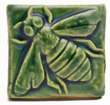 "Honey Bee 2""x2"" Ceramic Handmade Tile - Leaf Green Glaze"