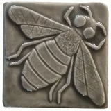 "Honey Bee 3""x3"" Ceramic Handmade Tile - Gray Glaze"