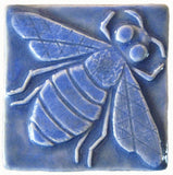 "Honey Bee 3""x3"" Ceramic Handmade Tile - Watercolor Blue Glaze"