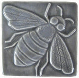 "Honey Bee 4""x4"" Ceramic Handmade Tile - Gray Glaze"