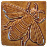 "Honey Bee 4""x4"" Ceramic Handmade Tile - Honey Glaze"